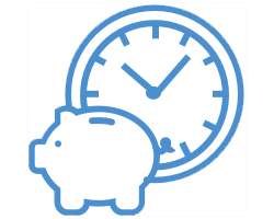 Piggy bank in front of a clock